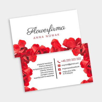 wizytówka w kwiaty czerwone