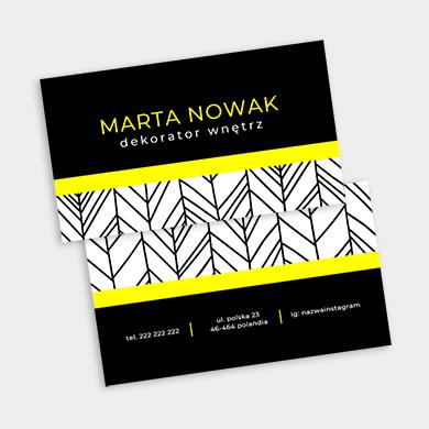 wizytówka nowoczesna żółto czarna