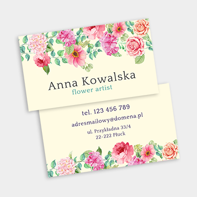 wizytówka w kwiaty delikatna dla kwiaciarni