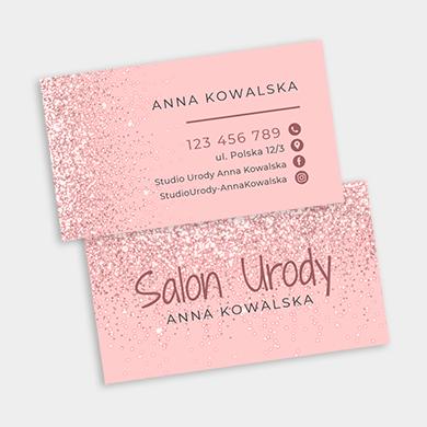 wizytówka glamour różowa