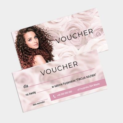 Voucher z różami kobiecy dla salonu fryzjera