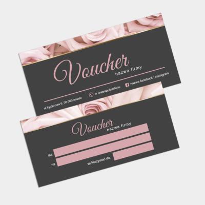 Voucher grafitowo-różowy elegancki z różami