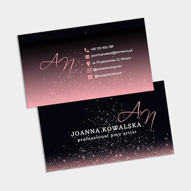 Różowo czarna wizytówka glamour