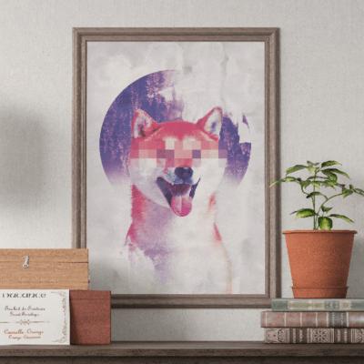 plakat z psem modern