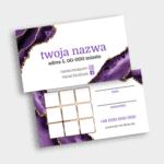 Wizytówka z polami rabatowymi fioletowo biała elegancka