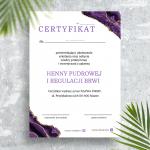Certyfikat biały agat fioletowy