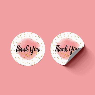 Naklejka Thank You różowa do pakowania
