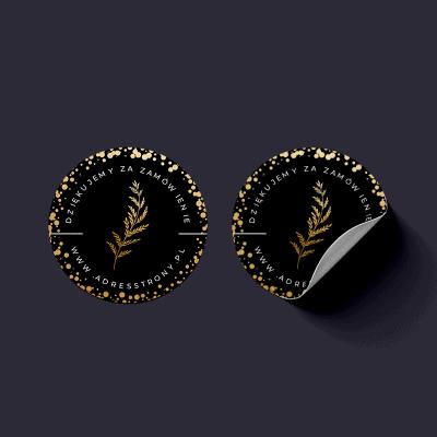 Naklejki na paczki czarne z liściem paproci
